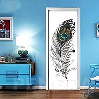 ZWYCEX ドアステッカー 自己接着は、防水壁紙の壁画デカール絵リビングルームリノベーションホームインテリア3Dドアステッカーフェザープリントアートを更新します (Sticker Size : 95x215cm)