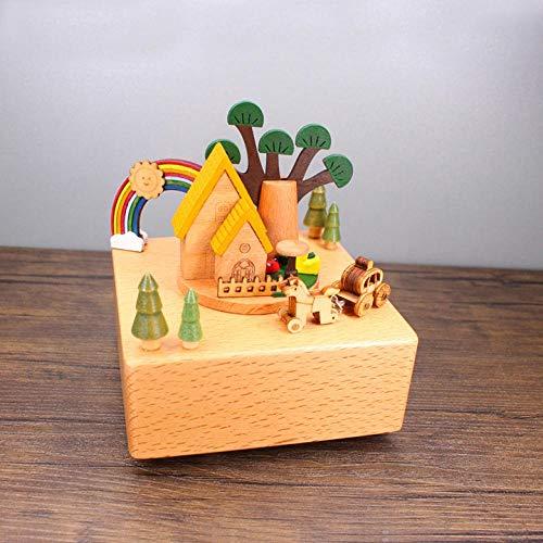 PLBB3K Caja de música Caja de música Caja de música decoración Regalo cumpleaños Regalo de Madera Madera sólido Caja de música (Color : Rainbow House)