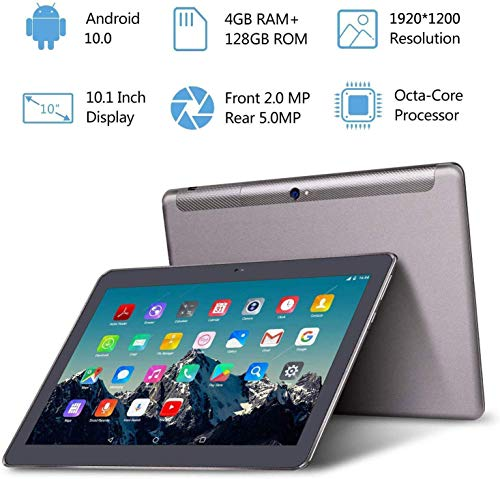 Tablet 10 Zoll 4G LTE - TOSCIDO Android 10.0,4GB RAM,128GB ROM,1920 * 1200HD,Octa Core,Dual SIM,WiFi,Dual Stereo Lautsprecher - Grau