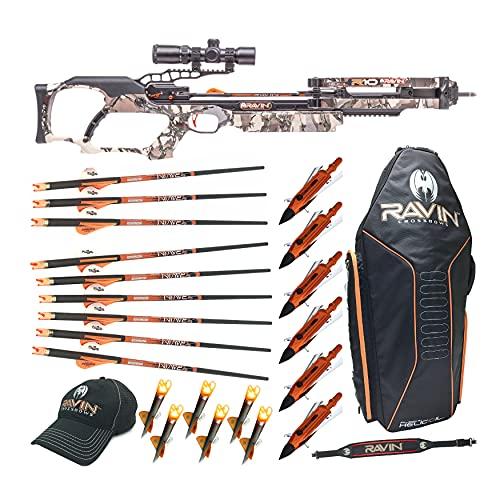 Ravin Crossbows R10 400 FPS Crossbow (Predator Camo), Essentials Bundle (9 Items)