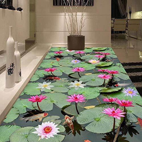 lminas de pvc suelo de vinilo pegatinas de pared Cocina Baño PVC Autoadhesivo Murales de suelo impermeable Papel tapiz Estilo chino Hoja de loto Carpa 3D Floor Tile-430 * 300cm