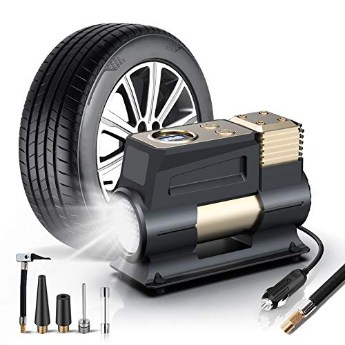 WOLFBOX Portable Air Compressor for Car,12V DC Digital Tire Inflator with Auto Shut-Off,Small Mini Tire Inflator with Pressure Gauge,Air Pump for Car Tires with LED Light & 11.5 Feet Long Power Cord