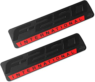 2x F-250 INTERNATIONAL Side Fender Emblems 3D Nameplate Badge Sticker Decal Replacement for F250 Black/Red