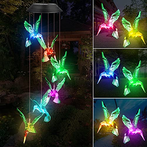Fohil Campanilla de Viento Solar, Campanas de Viento Cambio de Color LED Carillón de Viento Impermeable para Interiores, Exteriores, Jardín, Decoración del Hogar Cumpleaños (Colibrí)