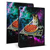 KUKUYE 宇宙 dj 猫 ピザ iPad Air2 ケース 軽量 薄型 オートスリープ スタンド機能 PUレザー 傷つけ防止 iPad Air2専用 スマートカバー