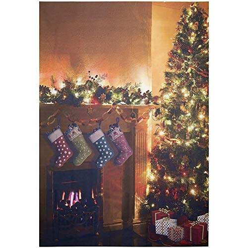 Christmas Photo Booth Backdrop - 5 x 7 Feet Holiday Festive Theme Photography Studio Background, Christmas Tree Fireplace Scene Design, Party Decoration Prop, 60 x 85 Inches