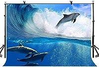 HD 7x5ft海の波の動物のテーマの背景美しいイルカサーファー人間と動物人間と自然調和のとれた開発海のサーフィンフィルムとテレビの背景LYLS516
