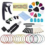 RIMLUFE acoustic guitar strings acoustic set music accessories replacement kit winder cutter finger picks holder variety pack starter tuning pegs tool repair kit parts for beginners capo 6 string set