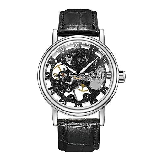 Sewor Mechanische Skelett-Armbanduhr für Herren, transparent, Vintage-Stil, Leder (Black-Silver)