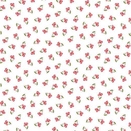 Hans-Textil-Shop 1 Meter Stoff Meterware Blumen Blümchen Bio Baumwolle - Blumenmuster, Blumenwiese, Kleidung, Deko, Dirndl (Annike Weiß)