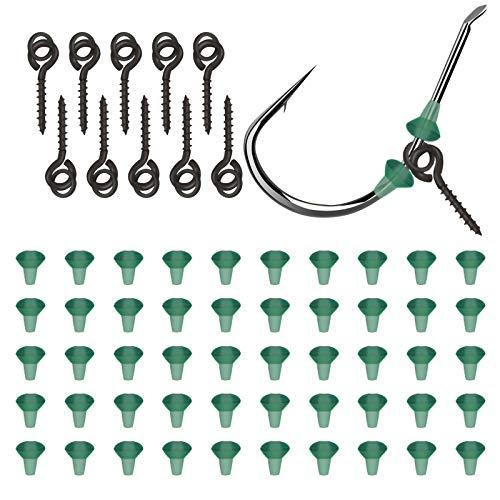 Haken Boilies Schraube 10 Stücke Screw Köder mit 50 Pcs Hook Stops, Screw mit Festen Ring Karpfenangeln Hair Tackle für Chod-Rigs Köder Haken