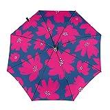 Diseño automático ligero compacto portátil del paraguas del viaje rojo de la flor y alta resistencia del viento