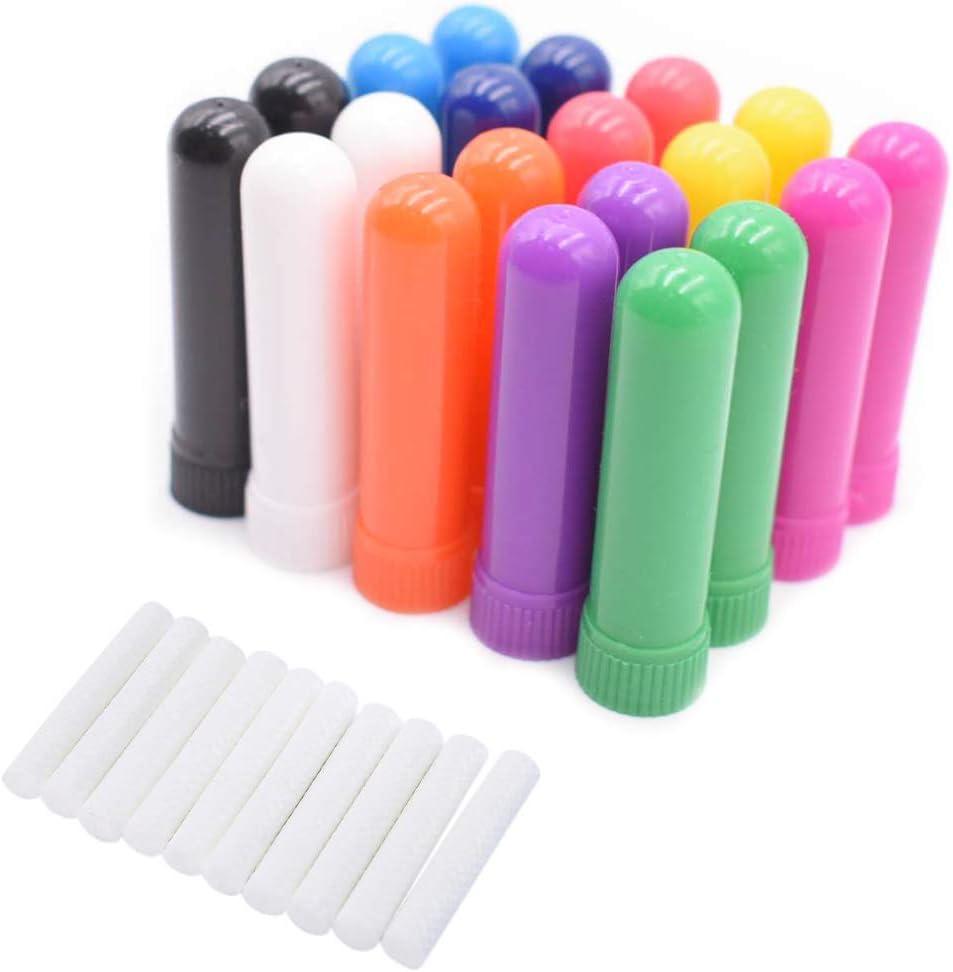 20 Piezas Tubo de Aceites Esenciales Inhalador Nasal Rellenable Reutilizable Plástico Tubo Aromaterapia con Mechas (10 Colores)