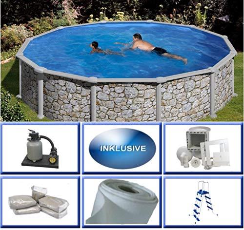 Summer Fun Stahlwandbecken Set Grandy Steinoptik rund ø 3,50m x 1,20m Folie 0,3mm Super Komplettset Pool Rundpool / 350 x 120 cm Stahlwandpool