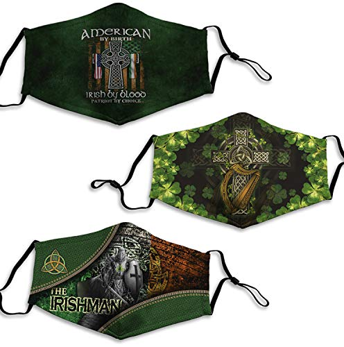 3PCS American by Birth Irish by Blood Patriot by Choice Irish Celtic Cross Face Mask for St Patrick's Day Green