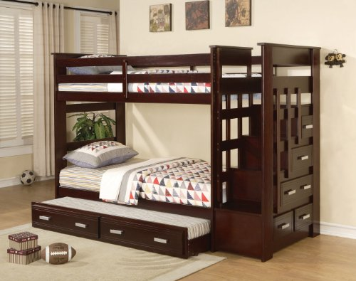 Acme Allentown Twin/Twin Bunk Bed with Storage Drawers and Trundle
