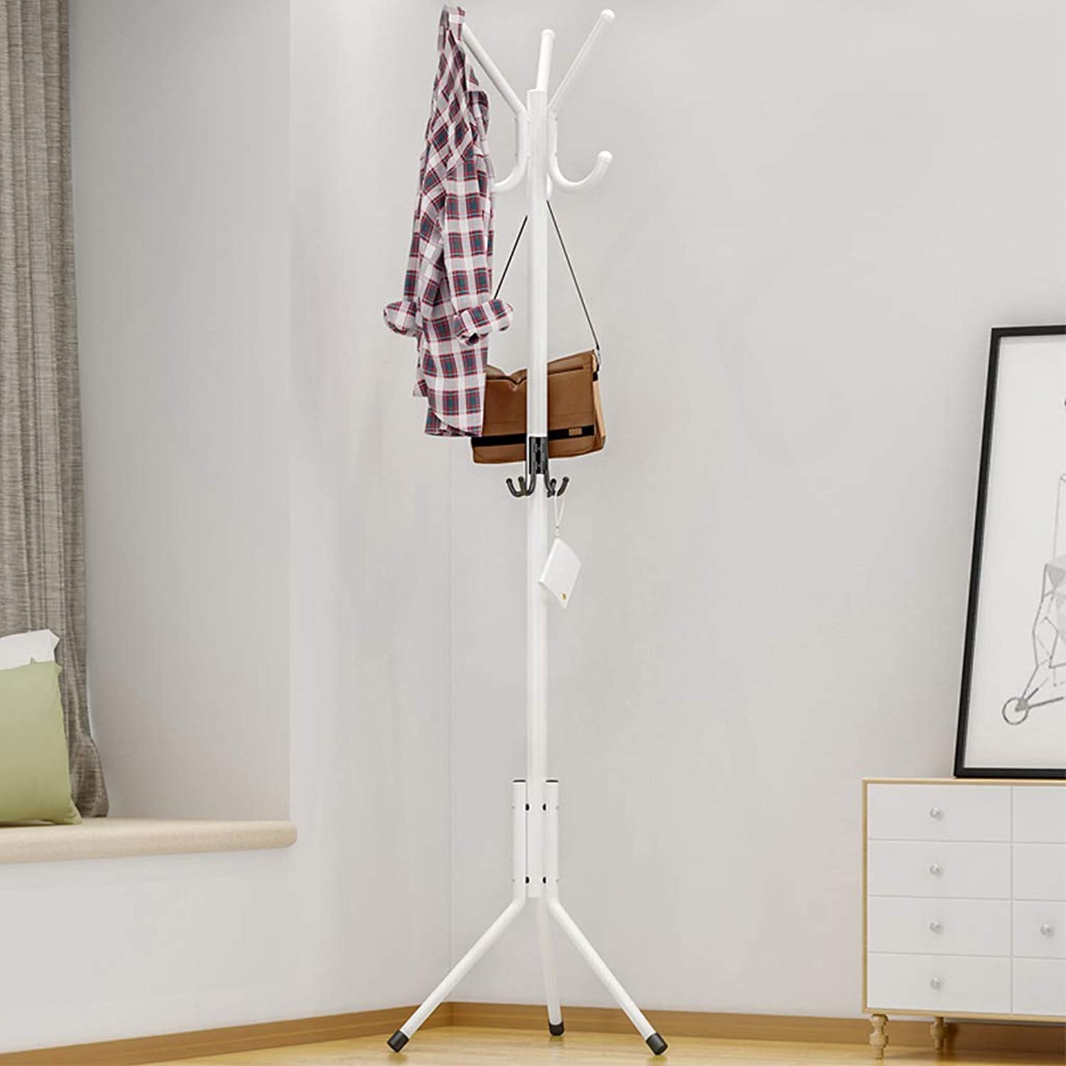 GSHWJS Modern Minimalist Floor-Standing Coat Rack Creative Bedroom Living Room Fashion Wrought Iron Rack 172x52cm Coat Rack (color   White)