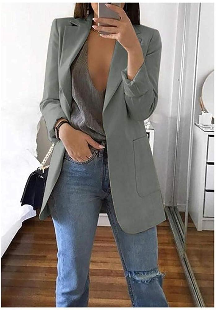 ORANDESIGNE Damen Cardigan Elegant Blazer Langärmliger Anzugjacke Einfarbig Blazer Business Slim Fit Bolero Jacke Anzug Trenchcoat A Grau