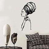 Vestido tradicional Estilo étnico Mujer africana en turbante Meditación Vinilo Arte Calcomanía Dormitorio Sala de estar Salón de belleza Estudio de yoga Decoración para el hogar Mural