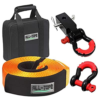 "ALL-TOP Tow Strap Recovery Kit-3"" x 30' (32.000 lbs.Capacity) Nylon Snatch Strap + 3/4 D Ring Bow Shackles(2pcs)+Storage Bag-Off Road Winch Heavy Duty Equipment for Recovery&Towing"