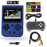 Sefitopher Mini Retro Handheld Game Console Retro Console 500 Classic Games with 3 Inch LCD Screen Support TV Connection and Simultaneous Playing Two Players Good Present for Kids Adults (Blue)