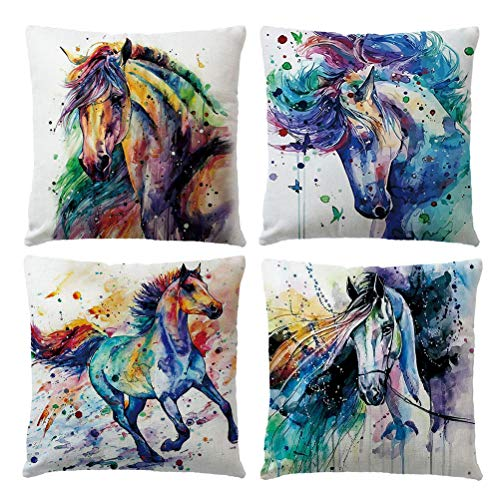 ULOVE LOVE YOURSELF Watercolor Horse Throw Pillow Cases Ink Painting Decorative Cushion Cover Home Decor Square 18x18 Inches,4Pack (Watercolor Horse)