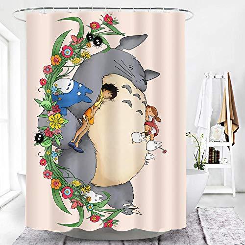 MALECUPWH Shower Curtains 120X200 cm Anime Mein Nachbar Totoro Duschvorhang 120 Lang Polyester Stoff Mit Duschvorhang Ring Antischimmel Wasserdicht
