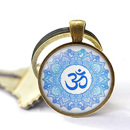 Llavero con símbolo de Om, joyería Namaste, joyería Zen Jewelry Yoga Joyería Vintage Charm Cristal Foto Joyería