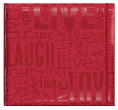 """MCS Álbum de scrapbook MBI 33,5 x 32,5 cm em relevo Gloss Expressions com páginas de 30 x 30 cm, vermelho, em relevo""""Live, Laugh, Love"""" (848115)"""