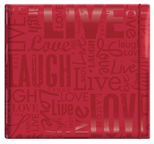 MCS MBI 13.5x12.5 Inch Embossed Gloss Expressions Scrapbook Album with 12x12 Inch Pages, Red, Embossed 'Live, Laugh, Love' (848115)