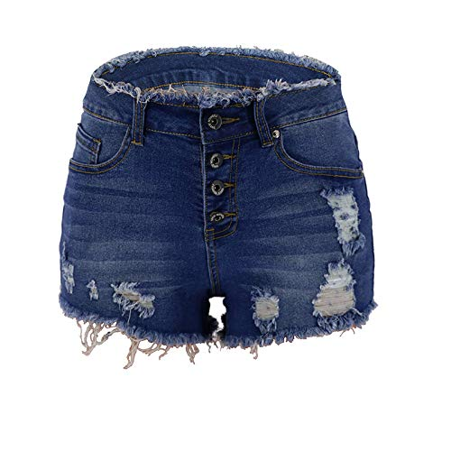 Pantalones Cortos de Mezclilla clásicos de un Solo Pecho para Mujer, Pantalones Cortos de Mezclilla con Bordes crudos y Lavados Atractivos a la Moda S