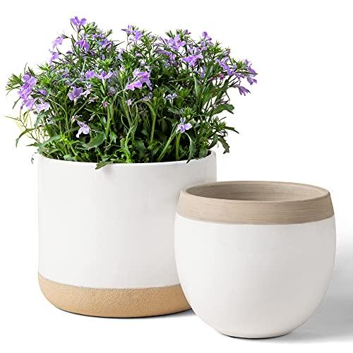 Macetas de Cerámica Blanca para Plantas - Maceteros de Interior de 16.5 + 12.4 cm, Macetas para...