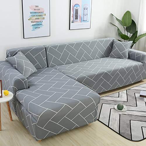 WXQY Funda de sofá geométrica para salón, Funda de sofá Flexible, Funda de sofá con Funda de sofá de Esquina en Forma de L A23 de 3 plazas