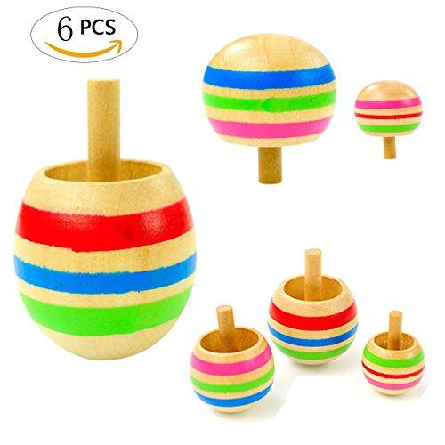 Mengger Kreisel aus Holz,Holzkreisel Spielzeugkreisel, Spielzeugkreisel aus Holz,Spielzeug Holzkreisel Lernspielzeug für Kinder Spiel DIY 6er Set