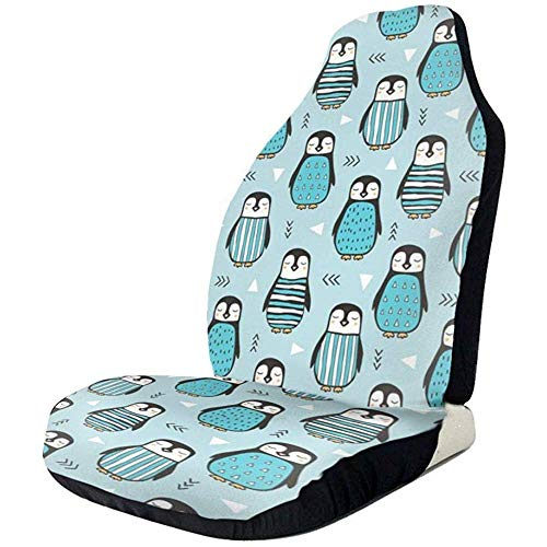 KDU Modieuze autostoelhoes, pinguïns met trui geometrisch logo voorste stoelhoezen 2 Stks Beschermende Auto Voertuig voorste stoelhoezen voor auto bestuurder