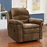 AC Pacific Felix Collection Contemporary Style Fabric Upholstered Living Room Electric Recliner Power Chair with Gentle Lumbar Massage, Brown (FELIX-7023-2-PRC)