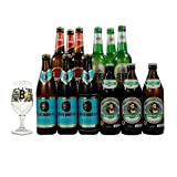 Premium German Lager Mixed Case 12 Pack with Glass (Fruh, Lowenbrau, Jever, Augustiner) - Perfect Gift for Father's Day