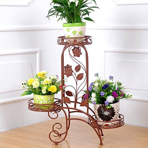 CJH Fleur de fer à étages de style européen Pot de fleurs de style européen pour l'intérieur et l'extérieur Balcon pour passer quelques étagères de fleurs de romarin vert