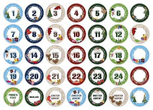 cute-head 24 Adventskalender-Zahlen + 11 Motive (Aufkleber Etiketten Sticker) | Romantic Snow Dekor | Schrift: Schnee | Rund | S » Ø 24 mm | Multicolor | FA0020-00