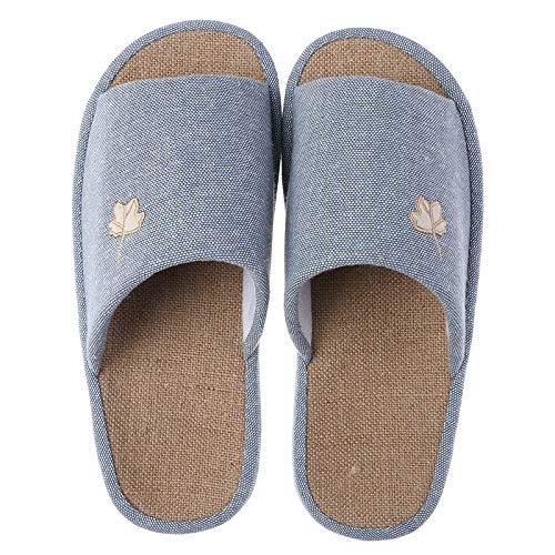 KKMOCK Zapatillas de lino a rayas de cuatro estaciones para...