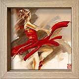 International Graphics Gerahmte Postkarte - MEIJERING, Kitty - ''Lost in Motion'' - 16 x 16 cm - holzfarbener Rahmen