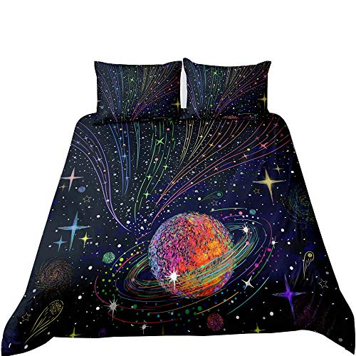 Galaxy Bedding Sets, Outer Space Bedding Queen Size Purple Bed Set Star Universe Celestial Comforter...