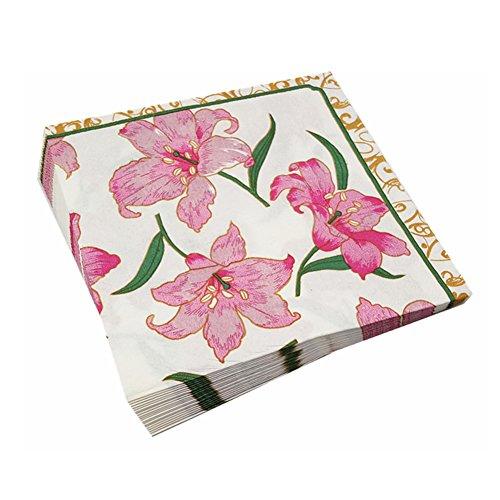 Meiosuns Servietten Floral Papierservietten Tee Tassen Papier Cocktail Servietten Servietten für Teeparty, Geburtstag (Rosa Lilie, Packung mit 60 Stück)