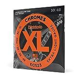 D'Addario Chromes ECG23 Cordes à filet plat pour guitare électrique Très Léger 10-48