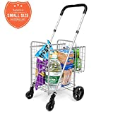 Compact Folding Grocery Small Shopping Cart - Supenice (SN7501) Double Basket, Adjustable Height Handle, Easily Collapsible, Light Weight Utility Cart with Rolling Swivel Wheels for Minicar