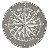 Liora Manne Frontporch Indoor/Outdoor Rug, 3' Round, Compass Grey
