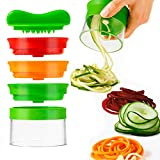 3-Blade Hand Held Vegetable Spiralizer, Spiral Slicer Creates Endless Spaghetti Noodles, Vegetable Spiralizer