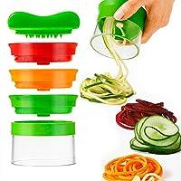alioo spiralizzatore di verdure - spiralizzatore affetta verdure spaghetti, qualità affettatrice spirale vegetale veggetti, zucchine pasta tagliatella spaghetti + pennello