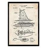 Nacnic Stampa Artistica Vintage. Progettazione e Brevetto con rappersentazione di Barca da...