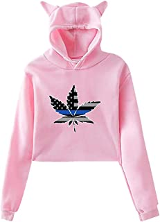 South Carolina Logo Palm Tree Logo,Womens Girls Casual Cropped Cat Ear Hoodie Sweatshirt Pullover